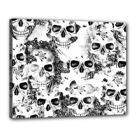 Cloudy Skulls B&w Canvas 20  X 16  by MoreColorsinLife