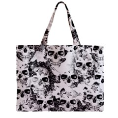 Cloudy Skulls B&w Zipper Mini Tote Bag by MoreColorsinLife