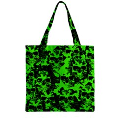 Cloudy Skulls Black Green Grocery Tote Bag by MoreColorsinLife