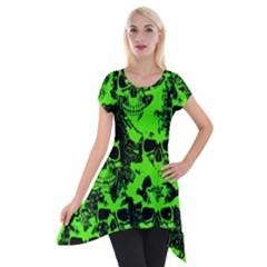 Cloudy Skulls Black Green Short Sleeve Side Drop Tunic by MoreColorsinLife