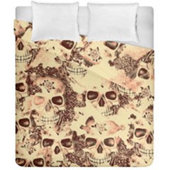 Cloudy Skulls Beige Duvet Cover Double Side (california King Size) by MoreColorsinLife