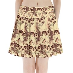 Cloudy Skulls Beige Pleated Mini Skirt by MoreColorsinLife