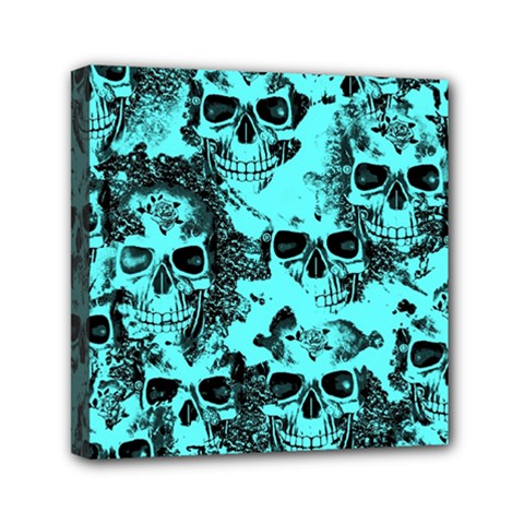 Cloudy Skulls Aqua Mini Canvas 6  X 6  by MoreColorsinLife