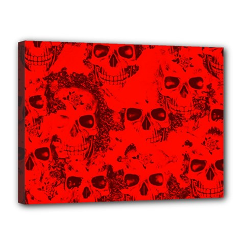 Cloudy Skulls Red Canvas 16  X 12  by MoreColorsinLife