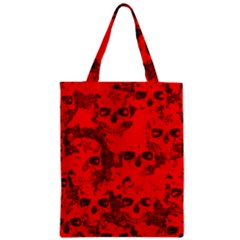 Cloudy Skulls Red Zipper Classic Tote Bag by MoreColorsinLife