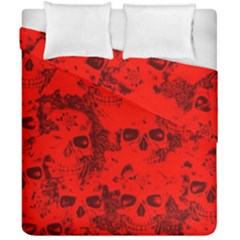 Cloudy Skulls Red Duvet Cover Double Side (california King Size) by MoreColorsinLife