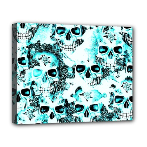 Cloudy Skulls White Aqua Deluxe Canvas 20  X 16   by MoreColorsinLife