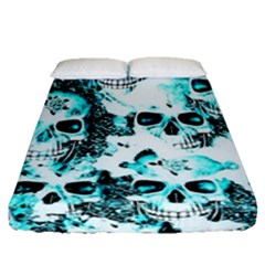 Cloudy Skulls White Aqua Fitted Sheet (queen Size) by MoreColorsinLife