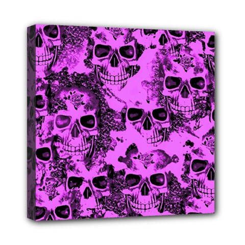 Cloudy Skulls Pink Mini Canvas 8  X 8  by MoreColorsinLife