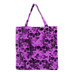 Cloudy Skulls Pink Grocery Tote Bag by MoreColorsinLife
