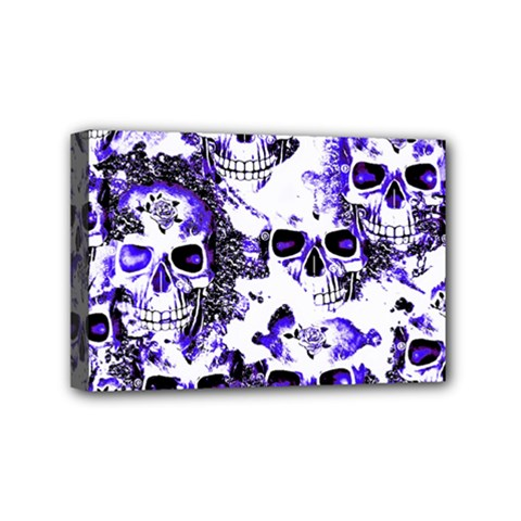 Cloudy Skulls White Blue Mini Canvas 6  X 4  by MoreColorsinLife