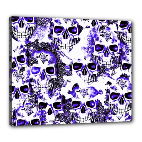 Cloudy Skulls White Blue Canvas 24  X 20  by MoreColorsinLife