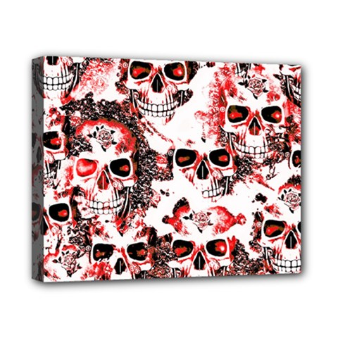 Cloudy Skulls White Red Canvas 10  X 8  by MoreColorsinLife