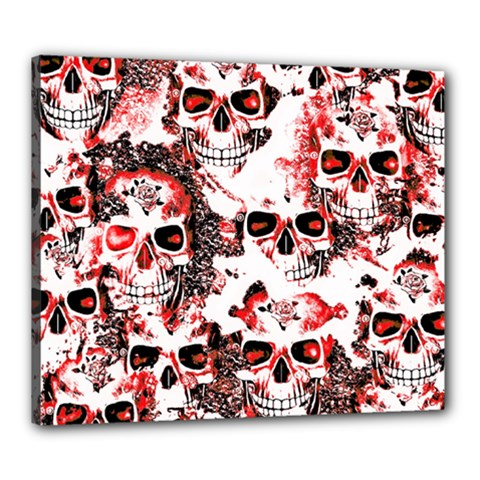 Cloudy Skulls White Red Canvas 24  X 20  by MoreColorsinLife