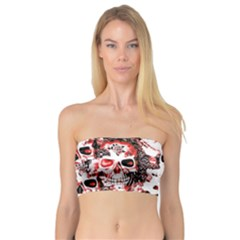 Cloudy Skulls White Red Bandeau Top by MoreColorsinLife