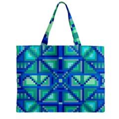 Grid Geometric Pattern Colorful Zipper Mini Tote Bag by Nexatart