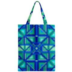 Grid Geometric Pattern Colorful Zipper Classic Tote Bag by Nexatart