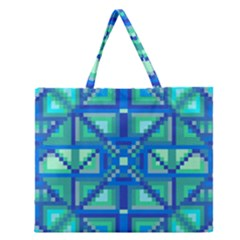 Grid Geometric Pattern Colorful Zipper Large Tote Bag by Nexatart