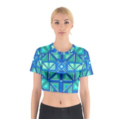 Grid Geometric Pattern Colorful Cotton Crop Top