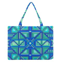 Grid Geometric Pattern Colorful Medium Zipper Tote Bag