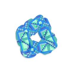 Grid Geometric Pattern Colorful Velvet Scrunchie by Nexatart