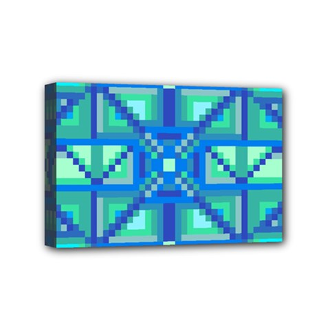 Grid Geometric Pattern Colorful Mini Canvas 6  X 4  by Nexatart
