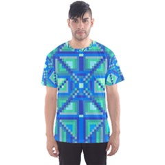 Grid Geometric Pattern Colorful Men s Sport Mesh Tee