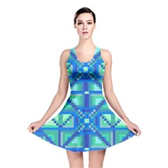 Grid Geometric Pattern Colorful Reversible Skater Dress
