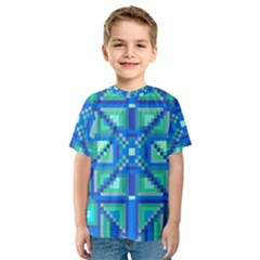 Grid Geometric Pattern Colorful Kids  Sport Mesh Tee