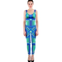 Grid Geometric Pattern Colorful Onepiece Catsuit by Nexatart