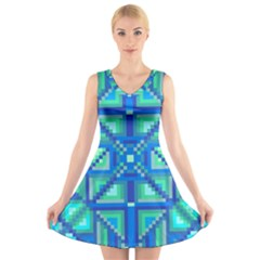 Grid Geometric Pattern Colorful V Neck Sleeveless Skater Dress