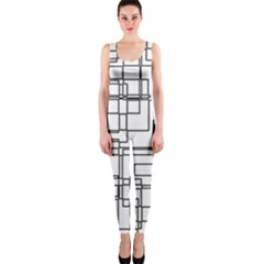 Structure Pattern Network Onepiece Catsuit