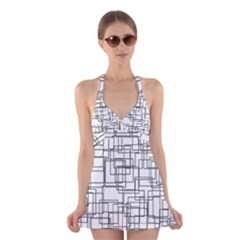 Structure Pattern Network Halter Swimsuit Dress