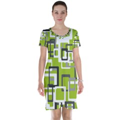 Pattern Abstract Form Four Corner Short Sleeve Nightdress