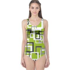 Pattern Abstract Form Four Corner One Piece Swimsuit