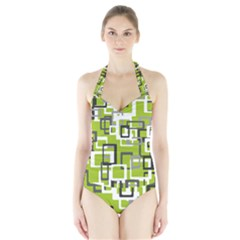 Pattern Abstract Form Four Corner Halter Swimsuit