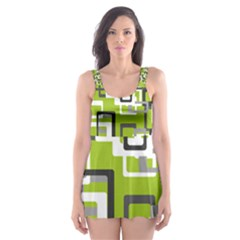 Pattern Abstract Form Four Corner Skater Dress Swimsuit
