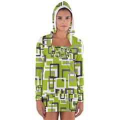 Pattern Abstract Form Four Corner Women s Long Sleeve Hooded T Shirt