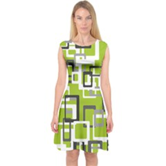 Pattern Abstract Form Four Corner Capsleeve Midi Dress