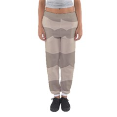 Pattern Wave Beige Brown Women s Jogger Sweatpants