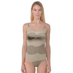 Pattern Wave Beige Brown Camisole Leotard  by Nexatart