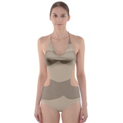 Pattern Wave Beige Brown Cut Out One Piece Swimsuit