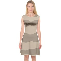Pattern Wave Beige Brown Capsleeve Midi Dress