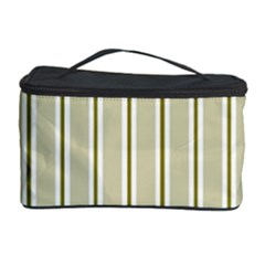Pattern Background Green Lines Cosmetic Storage Case by Nexatart