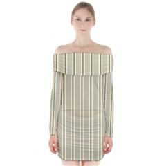 Pattern Background Green Lines Long Sleeve Off Shoulder Dress