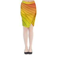 Abstract Pattern Lines Wave Midi Wrap Pencil Skirt