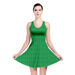 Pattern Green Background Lines Reversible Skater Dress