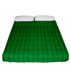 Pattern Green Background Lines Fitted Sheet (California King Size)