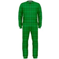 Pattern Green Background Lines OnePiece Jumpsuit (Men)