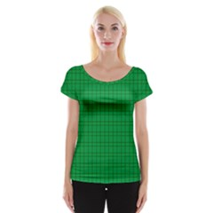 Pattern Green Background Lines Women s Cap Sleeve Top by Nexatart